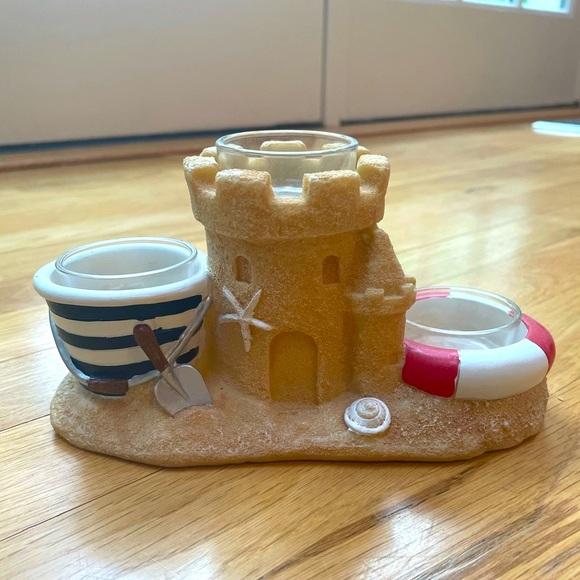 Beach sand castle mini candle holder